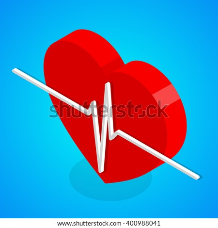 Heart and cardiogram line. Isometric vector illustration - stock vector