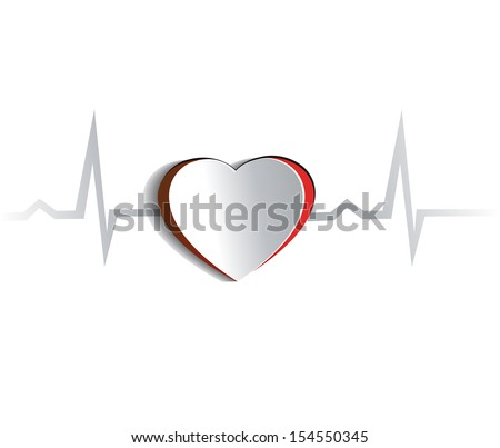 Heart and cardiogram. Paper looking design.  Heart connected with heart rate monitoring line. Isolated on a white background.  - stock vector