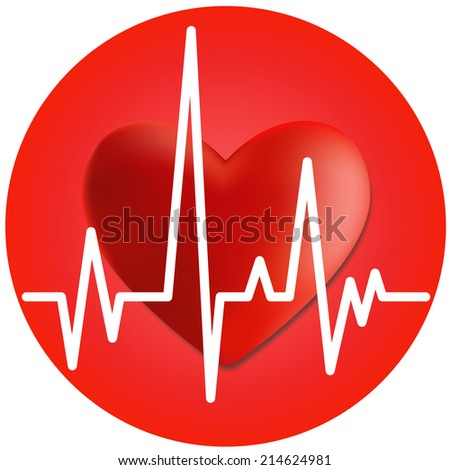 Heart and cardiogram. Volumetric red heart and cardiogram in the circle. - stock vector