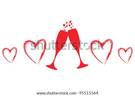heart and champagne glasses - stock vector