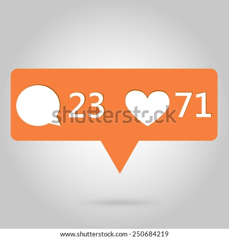 Heart and comment button icon, great for your design - stock vector