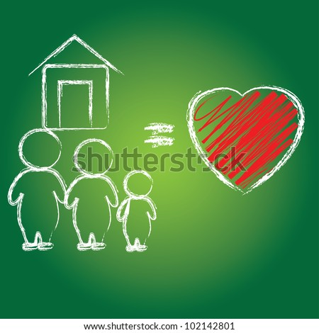 Heart and family,Vector - stock vector
