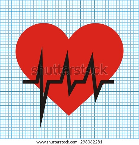 heart and graph - stock vector