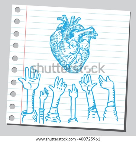 Heart and hands up  - stock vector