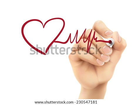 heart and heartbeat symbol drawn by hand on a transparent board - stock vector