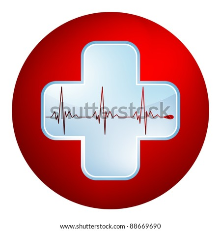 Heart and heartbeat symbol. Easy Editable Template. Without a transparency. EPS 8 vector file included - stock vector