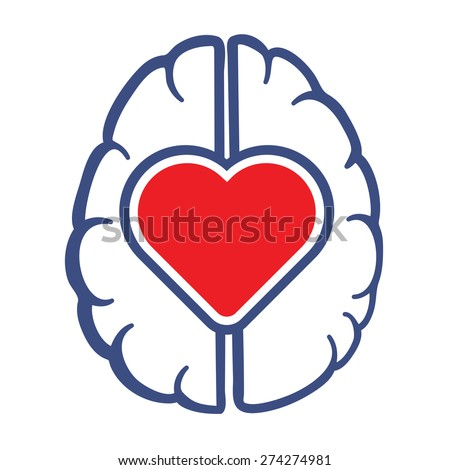 Heart and Human Brain symbol as love lives in human head concept vector illustration. - stock vector
