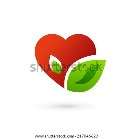 Heart and leaves symbol logo icon design template elements. May be used in medical, dating, Valentines Day and wedding design. - stock vector