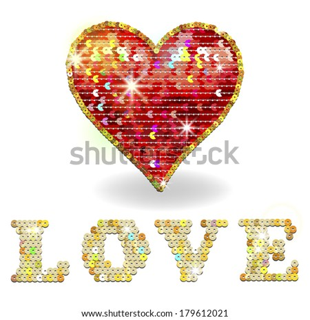 Heart and Love embroidered with sequins - stock vector