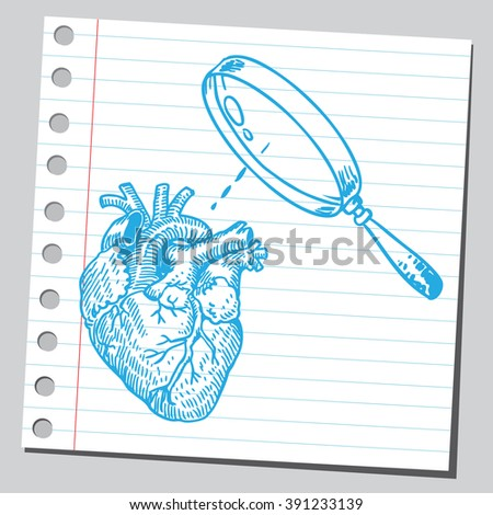 Heart and magnifying glass - stock vector