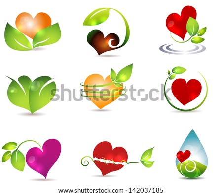 Heart and nature symbols. Bright and clean designs. Beautiful color combinations. Nature healing power. - stock vector