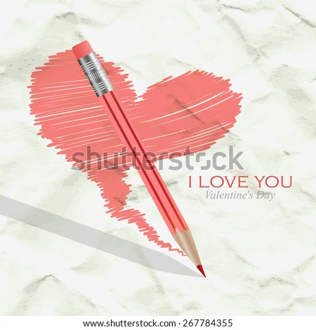 Heart and pencil on the background of crumpled paper - stock vector