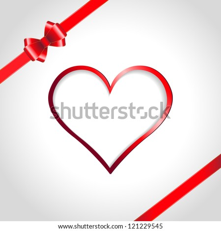 Heart and red ribbon bow on a background. Vector illustration