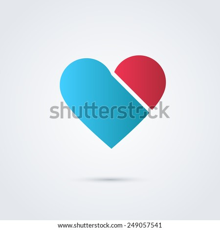 Heart and ribbon symbol logo icon design template elements. May be used in medical, dating, Valentines Day and wedding design - stock vector