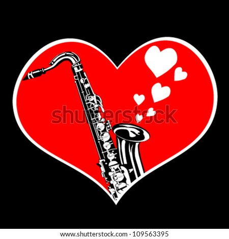 Heart and saxophone