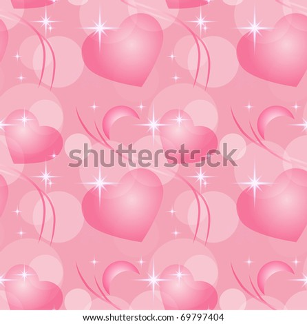 Heart and stars seamless background, eps10 - stock vector