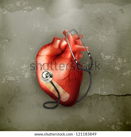 Heart and stethoscope, old-style vector - stock vector