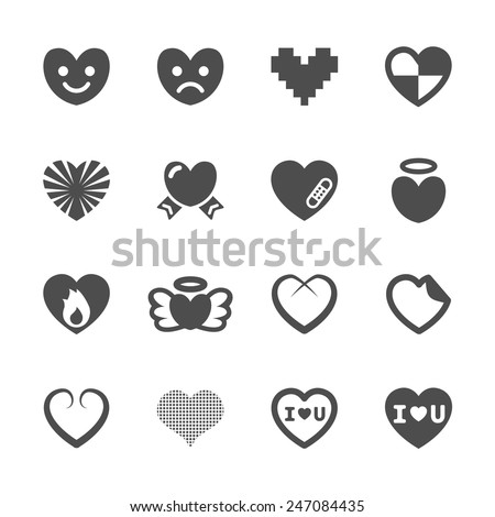 heart and valentine day icon set 3, vector eps10. - stock vector