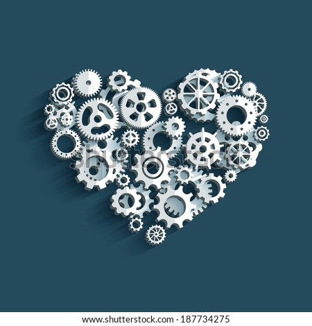 Heart as a mechanism made of cogs and gears. Vector Illustration EPS10. - stock vector