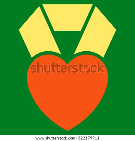 Heart Award vector icon. Style is bicolor flat symbol, orange and yellow colors, rounded angles, green background. - stock vector
