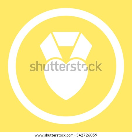 Heart Award vector icon. Style is flat rounded symbol, white color, rounded angles, yellow background. - stock vector