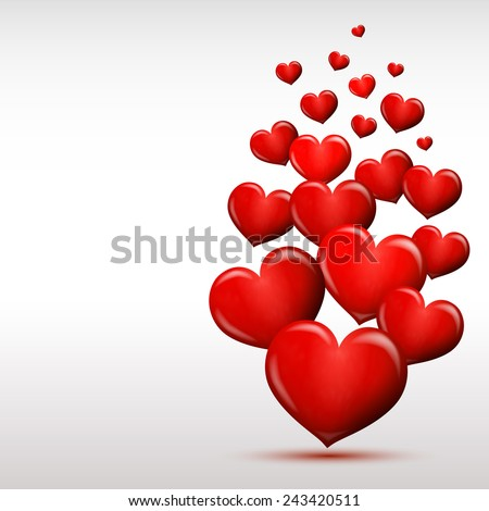 Heart background Valentine's day postcard in vector format - stock vector