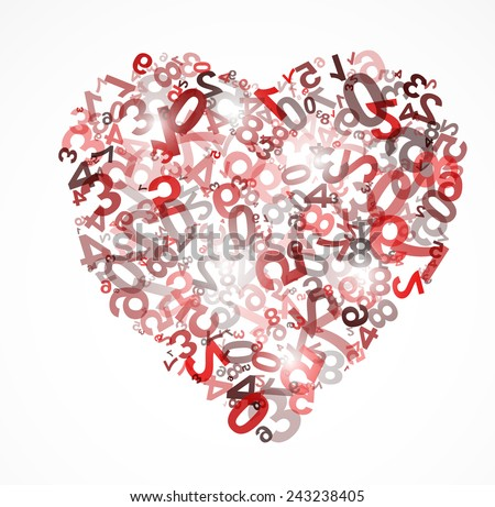 Heart background with numbers illustration - stock vector