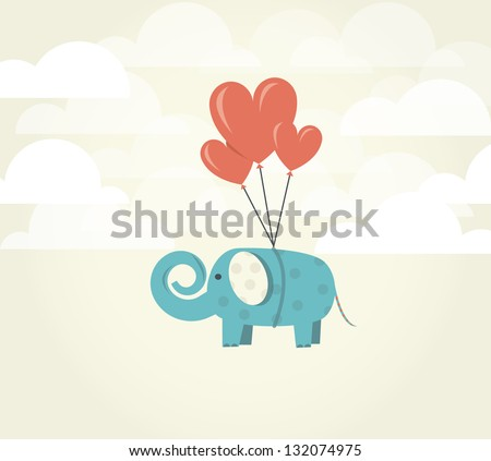 Heart balloons lifting up green elephant. Power of Love concept. Love ispires. - stock vector