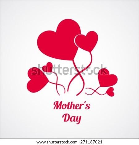 Heart balloons mother's day card - stock vector