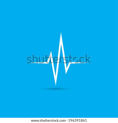 Heart beat, cardiogram icon - Vector - stock vector