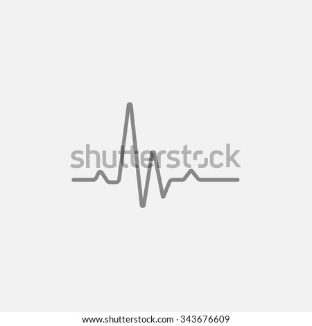 Heart beat cardiogram line icon for web, mobile and infographics. Vector dark grey icon isolated on light grey background. - stock vector