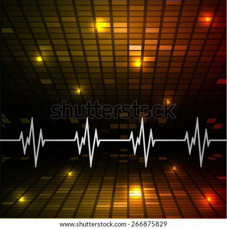 Heart beat, cardiogram. Pulse icon. dark orange background. Mosaic table, pixels - stock vector