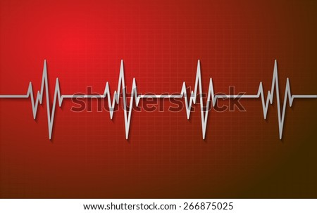 Heart beat, cardiogram. Pulse icon. dark red background. - stock vector