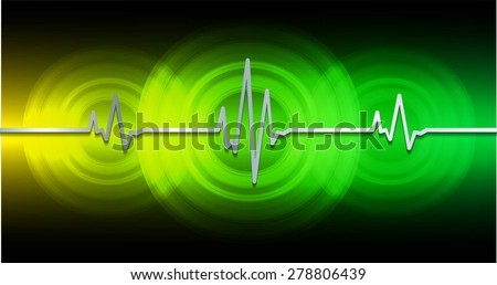 Heart beat, cardiogram. Pulse icon. dark yellow green background. - stock vector