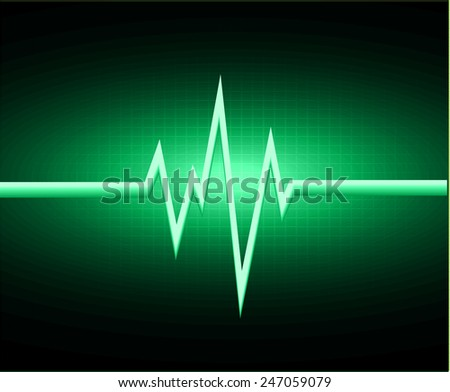 Heart beat, cardiogram. Pulse icon. green background. - stock vector