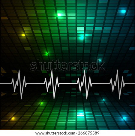 Heart beat, cardiogram. Pulse icon. green yellow blue background. Mosaic table, pixels - stock vector