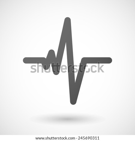 heart beat   icon with shadow on white background - stock vector