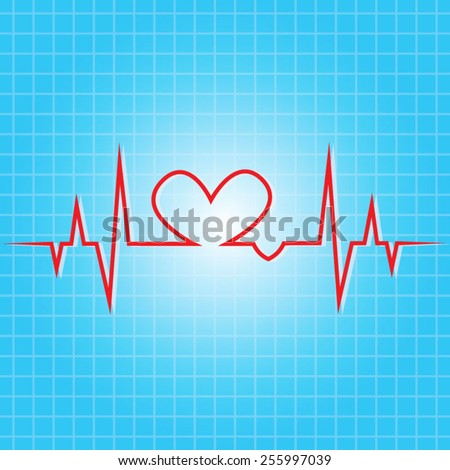 heart beat line - stock vector