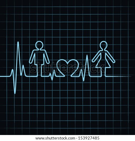 Heart beat make male,female and heart symbol stock vector  - stock vector