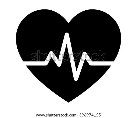Heart beat pulse flat icon for medical apps and websites - stock vector