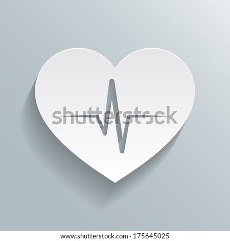 Heart beat rate icon, fitness and exercises concept vector illustration - stock vector