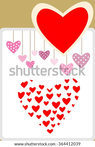 Heart card design for Valentine's Day