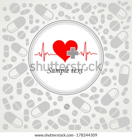 Heart cardiogram with heart. Medicine vector seamless pattern. Vector Illustration  - stock vector