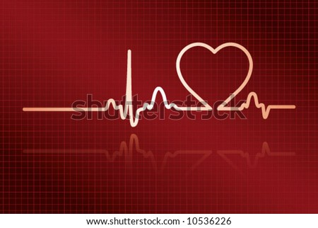Heart cardiogram with heart on it (deep red, Illustrator 9 EPS) - stock vector