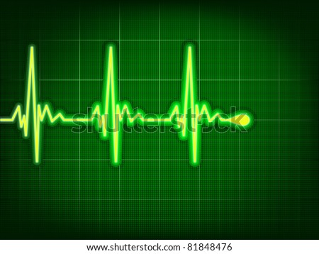 Heart cardiogram with shadow on it deep green. EPS 8 vector file included - stock vector