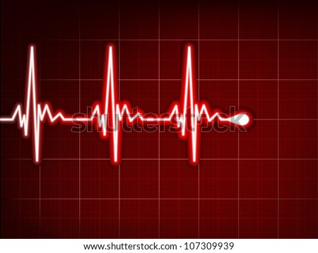 Heart cardiogram with shadow on it deep red. EPS 8 vector file included - stock vector