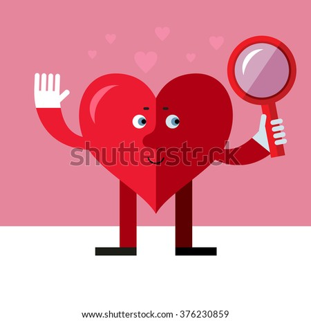 Heart character  Seeing Through Magnifying Glass. Flat style vector illustration on pink background. Valentine day greeting card. love symbol