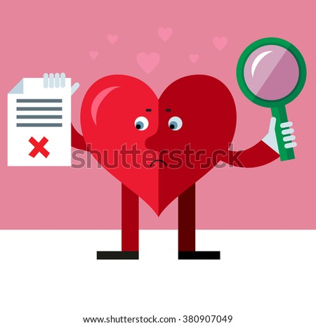 Heart character with magnifier glass holding checklist with X sign. Unsuccessful searching. Flat style vector illustration on pink background. Valentine day greeting card. love symbol