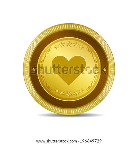 Heart Circular Gold Vector Web Button Icon - stock vector