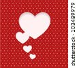 heart clipped sticker on polka dot background. card for Valentine's day - stock photo